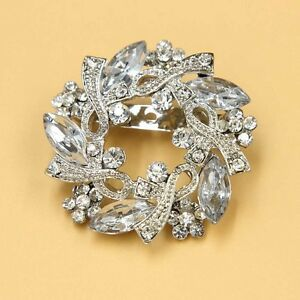 1 PC Crystal Rhinestone Brooch Pin Round Flower Broach Costume Jewelry Silver