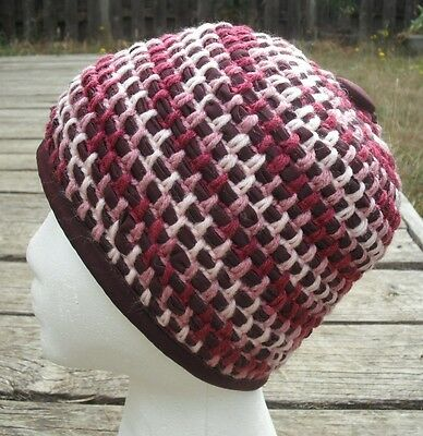 Spiral Motif Deep Purple Shade Crocheted Beanie - Handmade by Michaela