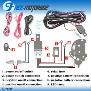 universal led light bar fog light wiring harness kit 40a 12v switch rh ebay com
