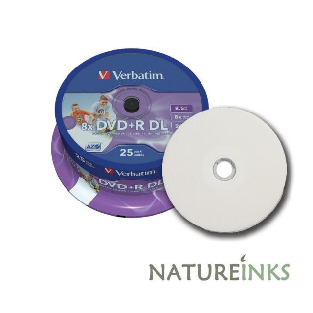 25 Verbatim Printable Dual Layer DVD+R 8x DL Double blank Discs 8.5GB 43667