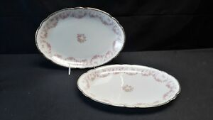 NC-West-Germany-Schumann-Original-Bridal-Rose-Pair-of-Oval-Serving-Platters