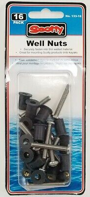 Well Nut Mounting Kit Scotty 133-16; 16 Pack Well Nuts /& Stainless Steel Screws