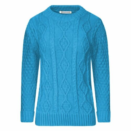 New Women/'s Ladies Knitted Cable Jumper Sweater Top 8-14