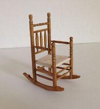 Vtg dollhouse miniature wood ROCKING CHAIR Woven Seat Ladder Back 1:12 - EUC