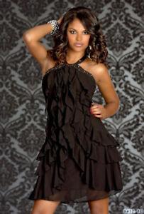 UK-Womens-chiffon-Mini-Dress-Halter-Neck-Sleeveless-Long-Top-Shirt-Club-Dress
