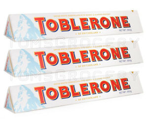 Details About 3 X Toblerone White Chocolate Bar With Honey Almond Nougat 100g 35oz