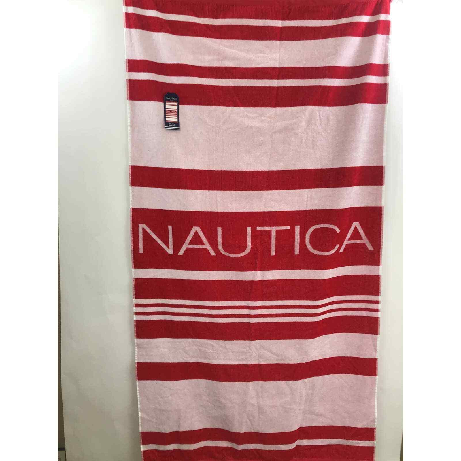 Nautica red white striped Beach Pool Towel New