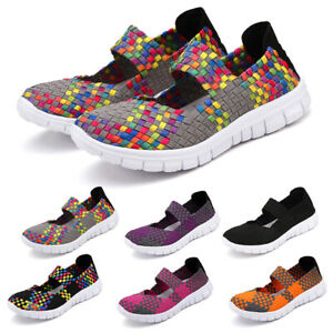 Womens-Woven-Elasticated-Shoes-Flat-Dancing-Trainer-Ladies-Slip-On-Casual-Size-7