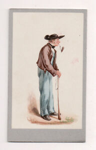 Vintage-CDV-Handpainted-man-Metz-Alsac-Germany-Traditional-National-Costume