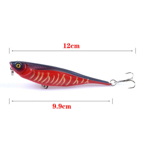 6PCS Fishing Pencil Lure Topwater Popper Hard Bait Floating Fishing Lure 10cm