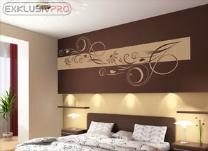 wandtattoo wandbanner adela wandaufkleber wohnzimmer schlafzimmer blumen ranke ebay. Black Bedroom Furniture Sets. Home Design Ideas