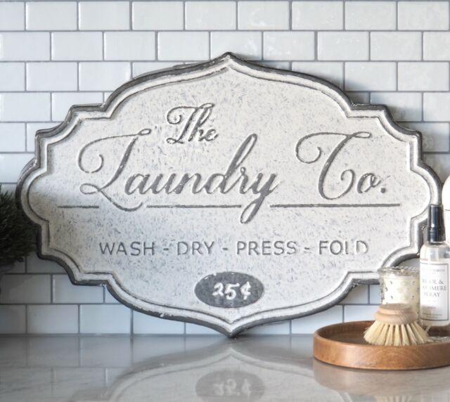 LAUNDRY Co Sign Grey White Tin Wash Dry Press Fold Hamptons Coastal Home Decor ©