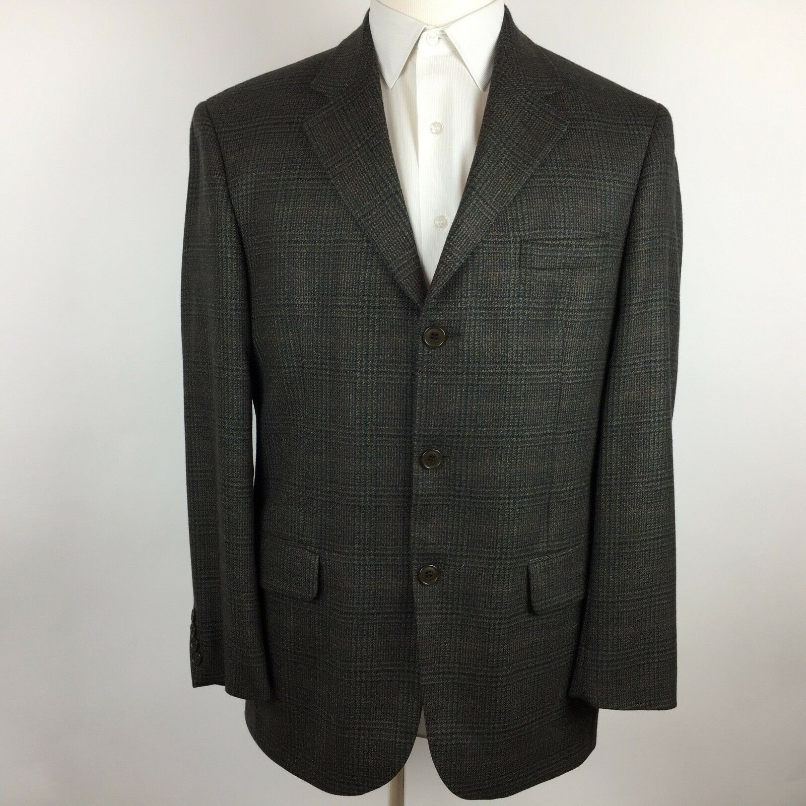 Gianfranco Ruffini Mens Sport Coat 3 Button Brown Glen Plaid 100% Lambswool 40R