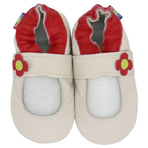 carozoo Mary Jane cream 0-6m soft sole leather infant baby shoes