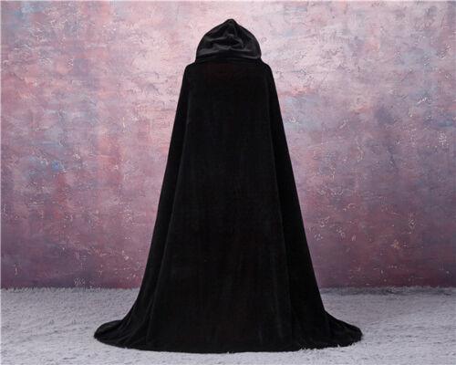 LINED GOTHIC CLOAK HALLOWEEN CAPE HOODED WICCA MEDIEVAL LARP VELVET