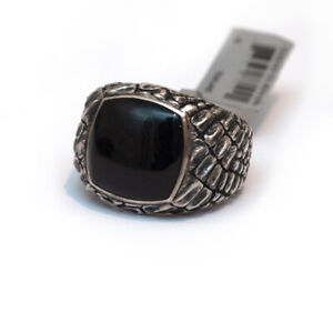 New DAVID YURMAN Men's Silver Gator Signet Ring in Black Jade Size 10