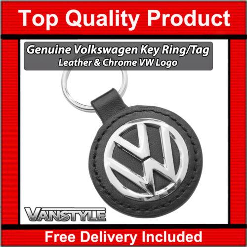 VW T5 TRANSPORTER & CARAVELLE KOMBI VOLKSWAGEN KEY RING TAG LOGO VW LEATHER