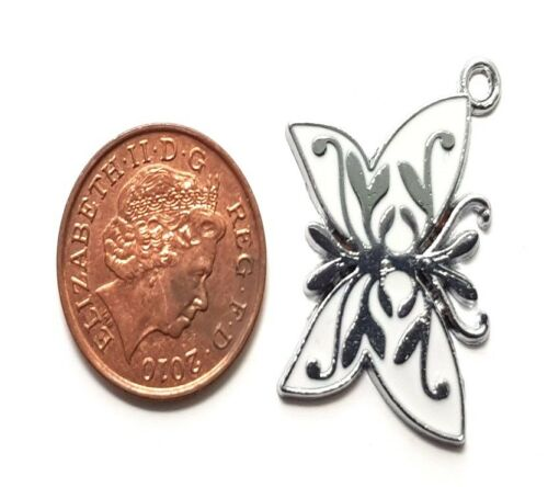 5 Pcs 22x30mm Butterfly Zinc Alloy Enamel Charm Pendants A0296
