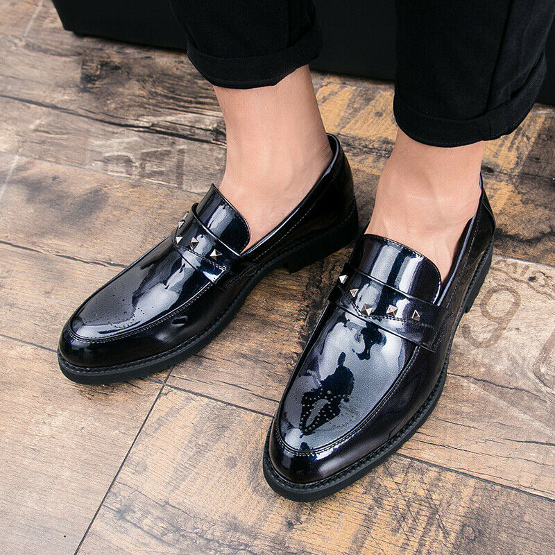 Men Patent Leather Rivet Decor Slip On Business Work Carved British shoes Casual