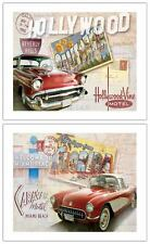 Road Trip I & II by Keith Mallett~Set of 2 Vintage Calif~Florida Car Art Prints
