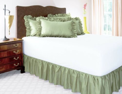 "14/"" INCH DROP SOLID EASY FIT SET UP PLEATED ALL CORNERS 1 PC BED SKIRT SAGE"