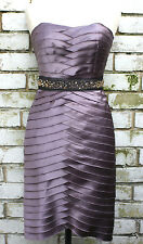 NEW BCBG Max Azria Strapless Satin Beaded Evening Coctail Dress RRP £200 Size  8