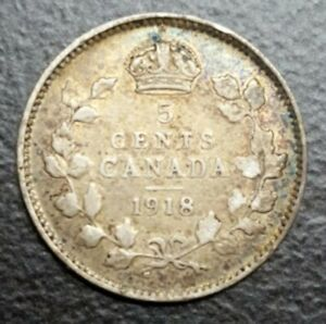 1918 CANADA 5 CENTS KING GEORGE V OLD SILVER COIN KM 22a BETTER GRADE