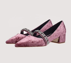 Womens Rhinestones Pointed Toe Velvet Retro Block Heel Low Top Pump Shoes 3Color