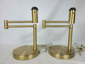 Pair of Ralph Lauren Swing Arm Brass Finish Table Desk Office Lamp NO SHADES
