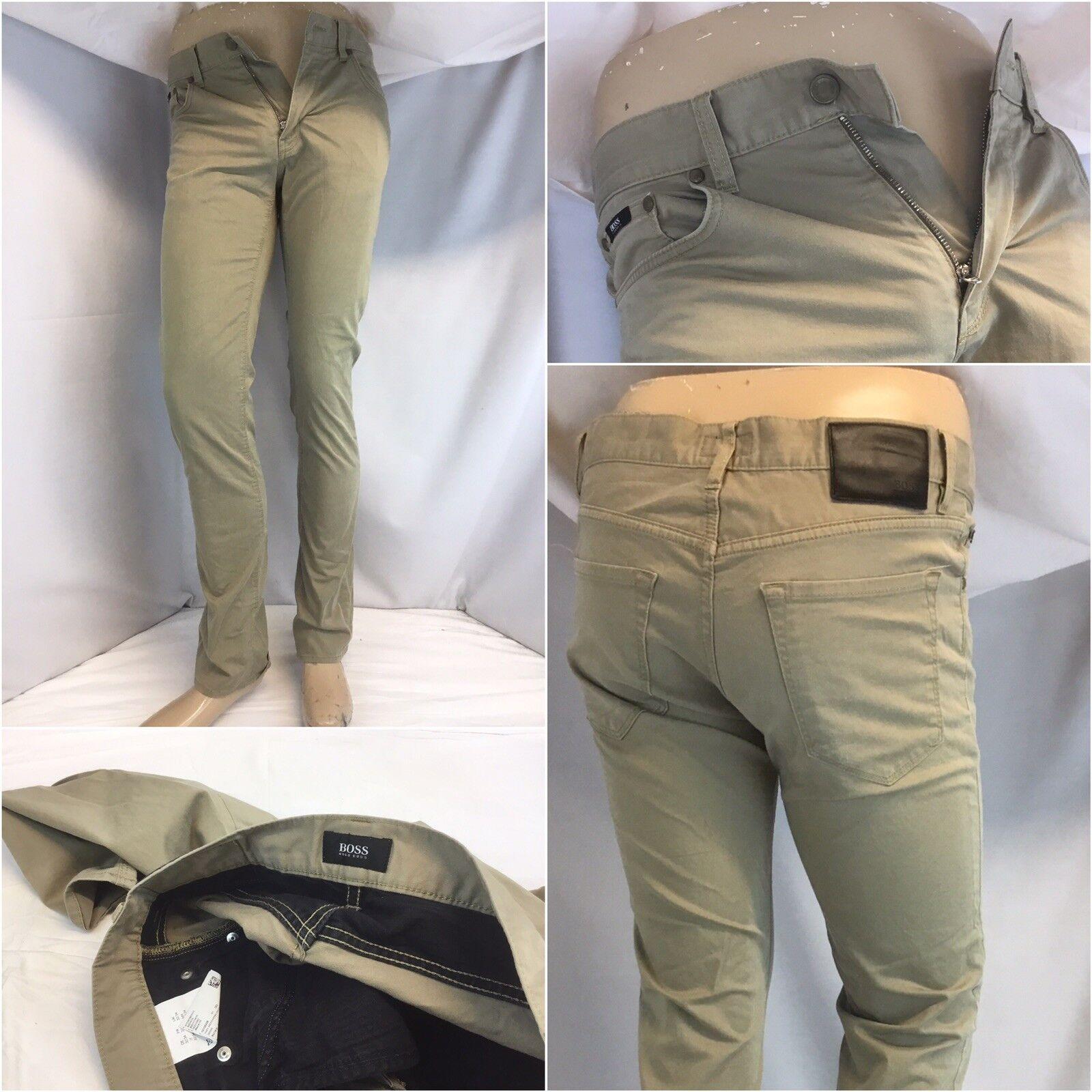 Hugo Boss Pants 32x32 Tan Cotton Lycra Flat Front Maine R Fit Romania YGI RE1050