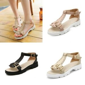 Womens-Open-Toe-Sandals-T-Strap-Low-Heel-Casual-Ankle-Buckle-Shoes-Size-4-5-10-5