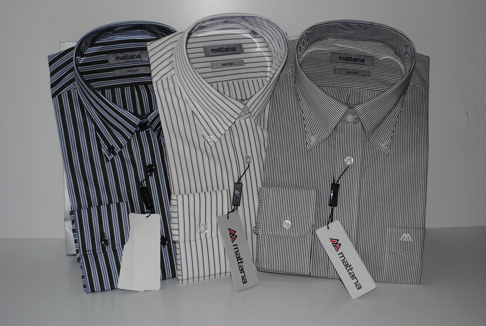 TRE CAMICIE UOMO CLASSICHE MANICA LUNGA COLLO BUTTON DOWN 40 STIRO FACILE COTONE