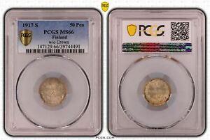 Finnland / Russland 25 Penniä Silber 1917 s Stempelglanz PCGS MS66 51872