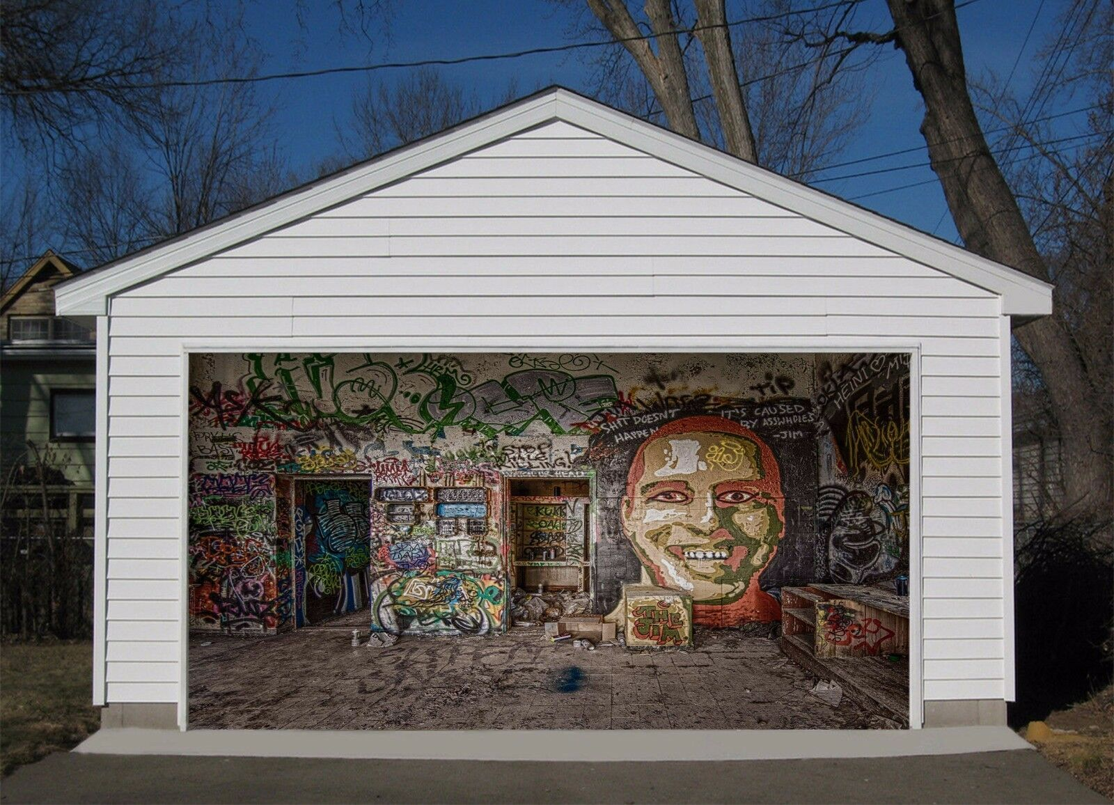 3D Graffiti Room 563 Garage Door Murals Wall Print Wall AJ WALLPAPER UK Lemon
