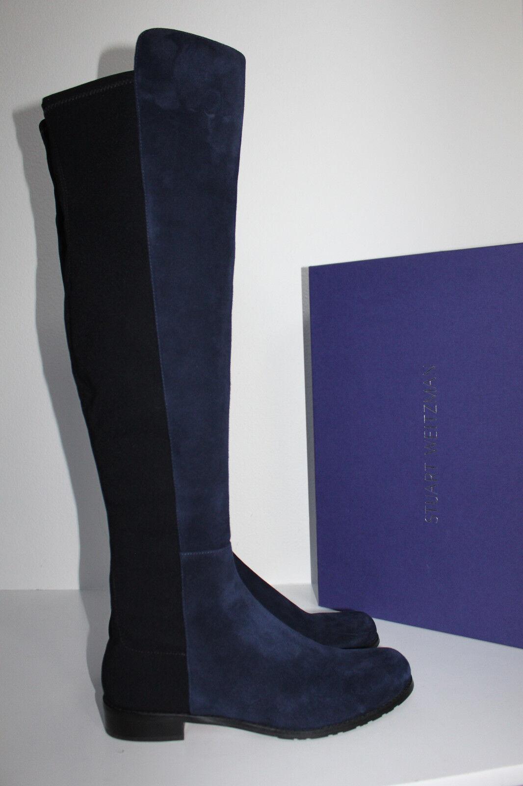 New sz 9.5 M Stuart Weitzman 5050 Navy azul Suede Over the Knee bota zapatos