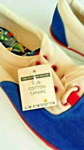 NWOB-liz-claiborne-womens-100-Canvas-Red-White-amp-Blue-sneakers-8-5M