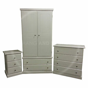Hand Made Furniture Cambridge 3 Piece Bedroom Set White Assembled