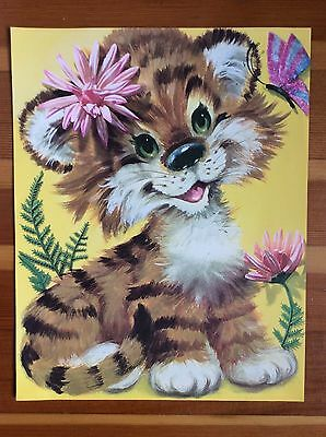 "Vtg Retro KIDS ART PRINT Happy Tiger Flower Yellow Kitsch 60 70s Paper 14"" x 11"""