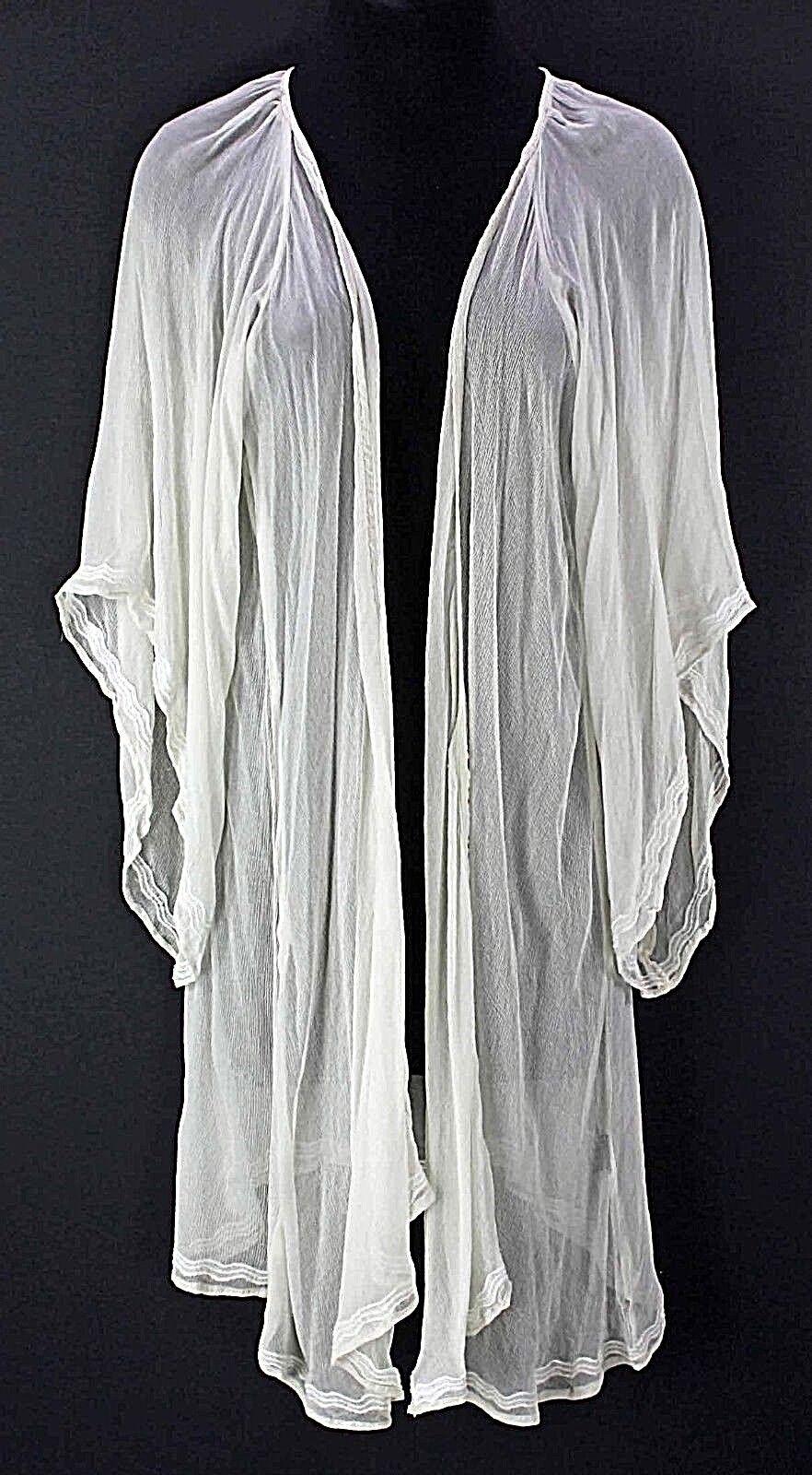 Bohemian Bones NEW 119 Sz S Cream Sheer Viscose Embroiderot Trim Kimono Top F192