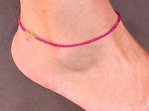 pink-sapphire-gemstone-anklet-flex-net-layering-stack-virgo-birthstone-14k-gold