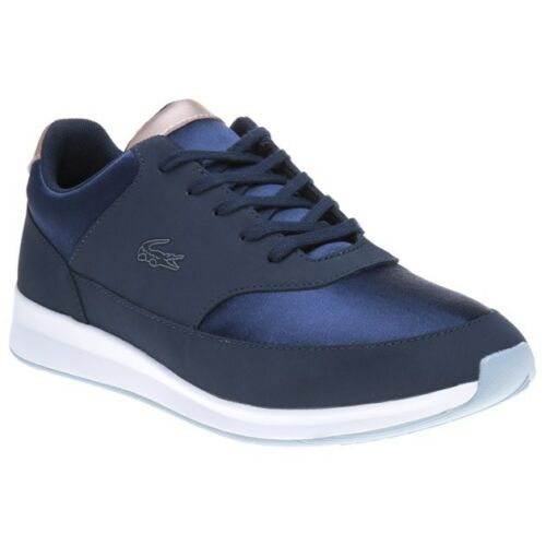 New Womens Lacoste Blue Chaumont Lace 317 Synthetic Trainers Running Style Up