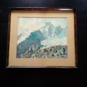 Grande-aquarelle-montagne-alpinisme-signe-Suisse-Allemagne-tableau-XIXeme-XXeme