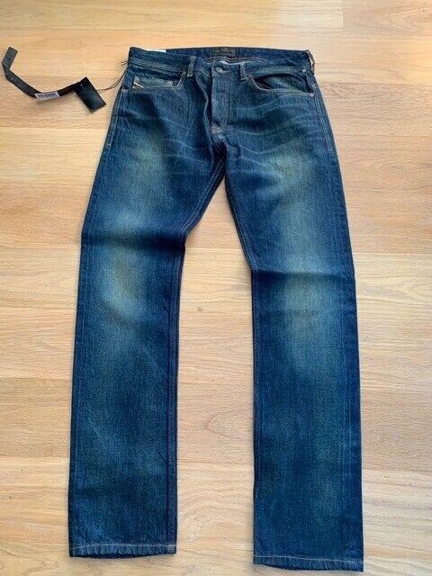 NUOVO CON ETICHETTE DI NUOVO DIESEL jeans da uomo oro Blu Taglia 30
