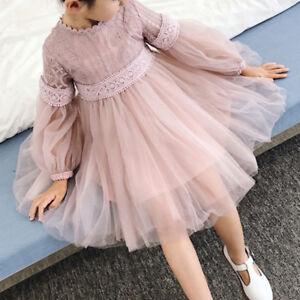 65978459e Baby Kids Girls Tutu Tulle Princess Dress Elegant Lace Gauze Long ...