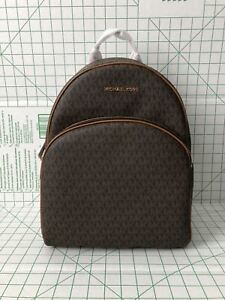 75b43dcaf64f Image is loading Michael-Kors-Abbey-Large-Backpack-Brown-MK-Signature-
