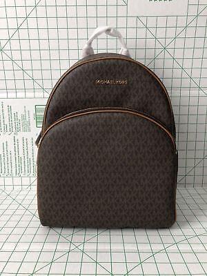 Michael Kors Abbey Large Backpack Brown Mk Signature Pvc Leather School Bag 190864410128 Ebay