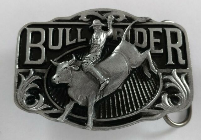BULL RIDER COWBOY HAT RODEO WESTERN BELT BUCKLE C&J INC. MADE IN USA NOS