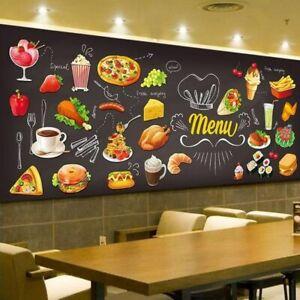 3d Food Menu Pizza Burger Wall Mural Wallpaper Shop Bar Pub Restaurant Cafe Ebay