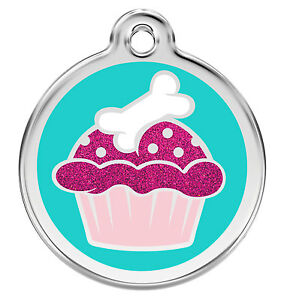 Engraved-Dog-Cat-ID-Identity-Tag-Discs-Glitter-Aqua-Cup-Cake-Red-Dingo-XCC