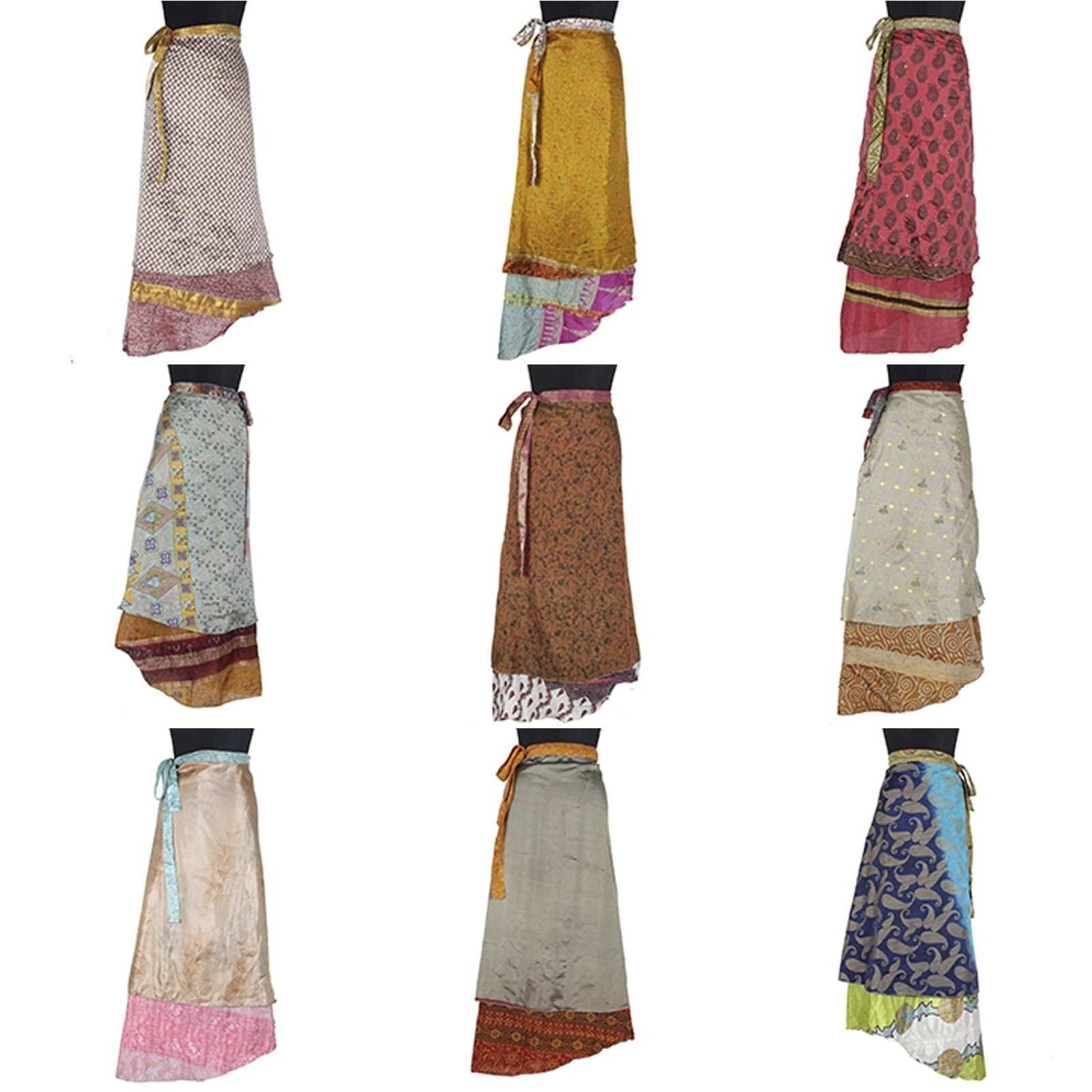 10 Pcs Mix Vintage Silk Dress Magic Wrap Halter Sarong Wrap Skirts 50